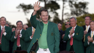 Masters Champion Danny Willett of England during the Green Jacket Presentation after winning the Masters at Augusta National Golf Club on Sunday April 10, 2016.